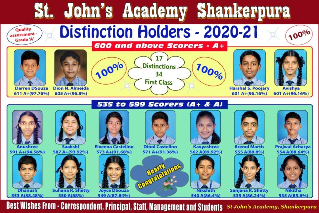 SSLC Distinction Holders 2020-21